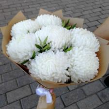 Букет №139 Белые одиночные хризантемы