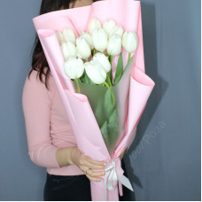 Букет № 195 тюльпан белый премиум