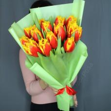 Букет №198 тюльпан красно-желтый премиум