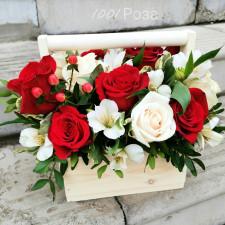 Ящик №19 / Роза красная и белая