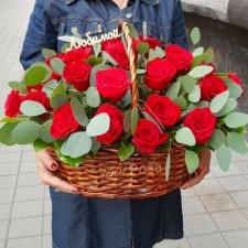 Корзина №38 Красные розы в корзине