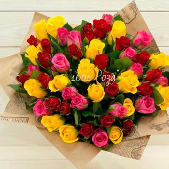 Букет №115 | Букет из 51 красной, желтой и розовой розы