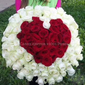 Букет №2  | 101 роза в форме сердца 40см