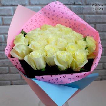 Букет № 67 Бело-лимонные розы 60 см