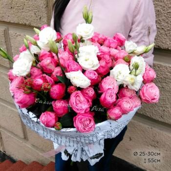Букет № 71 Пионовидные розы и эустомы