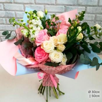 Букет № 75 Кустовые и пионовидные розы
