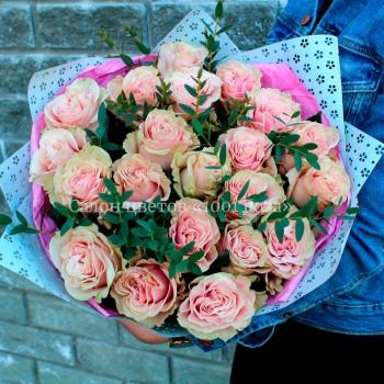 Букет № 76 Крупный бутон из 21 розы, 50 см