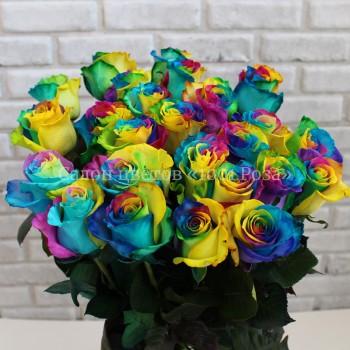 Радужная роза 60 см | Доставка необычных разноцветных роз в Барнауле недорого