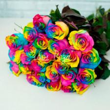 Радужная роза 50 см