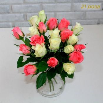 Розы Розовые и белые 37 см