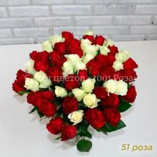 Роза красная и белая 37 см
