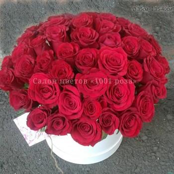 Коробка №1 | 51 красная роза 35-40 см В корзинке