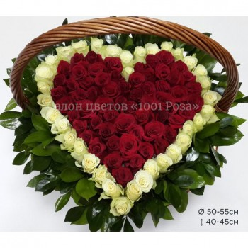 Корзина №25 | 101 роза в форме сердца 40-45см